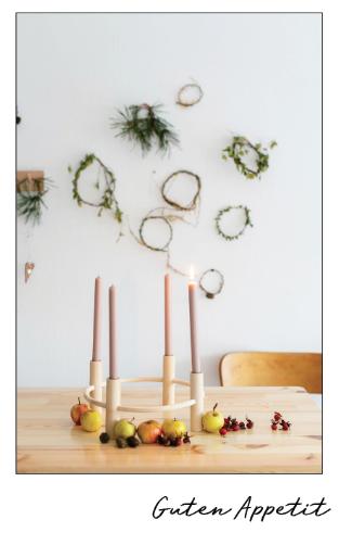 Vegane Weihnachten - Adventskranz mit Aepfeln